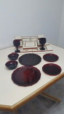 Vintage Collectible of AVON 1876 CAPE COD Collection RUBY RED GLASS 8 Pieces!