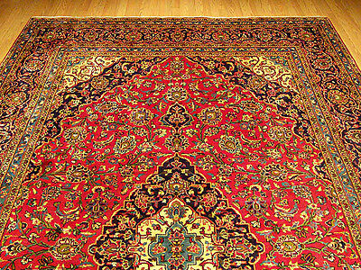 8.2 x 12 Handmade Fine Quality Antique Persian Oriental Rug_Soft Silky Kork Wool