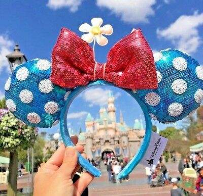Disney Parks Polka Dot Minnie Ears Sequin Headband Blue Hat with Flower - Adult