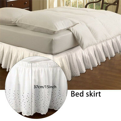 Elastic Embroidered Bed Ruffle Skirt Valance Easy Fit Wrap Around Soft Queen Bed