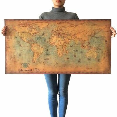 World Map Vintage Poster Classic Design Character Retro Poster Wall Art Painting