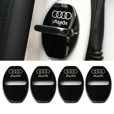 4pcs Black Stainless Steel Door Lock Buckle Protective Cover For Audi