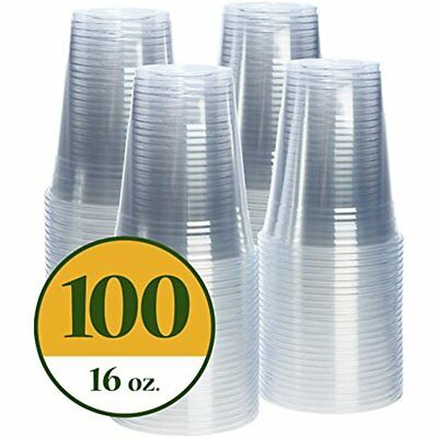 New Plastic Cups CRYSTAL CLEAR PET 100 Pack (16 Oz)