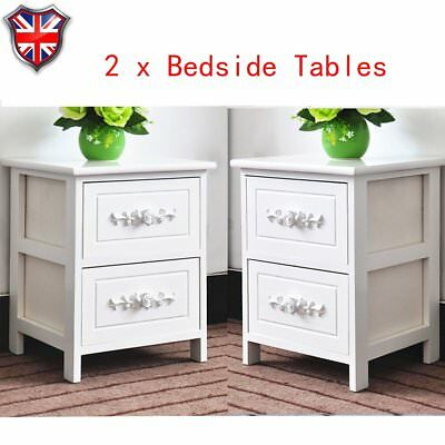 2 x Wooden Bedroom Bedside Tables Cabinets Nightstand With 2 Storage Drawers