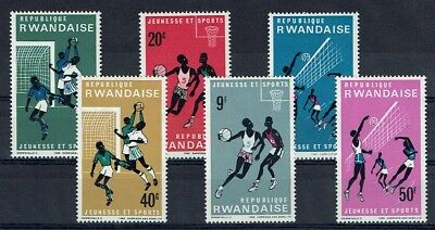 RWANDA 161 à 166 ** MNH 1966 SPORTS FOOTBALL BASKET-BALL VOLLEY-BALL
