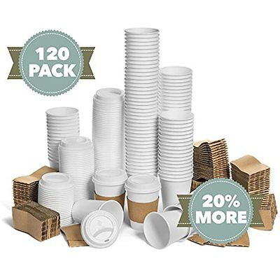 New JUMBO Set Of 120 Paper Coffee Hot Cups With Travel Lids, Sleeves, And - 12OZ