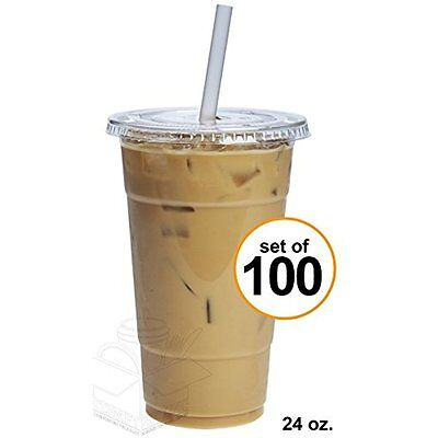 New 100 Sets 24 Oz. Plastic CRYSTAL CLEAR Cups With Flat Lids For Cold Drinks,