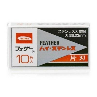 Feather Japan Hi-Stainless Steel Single-Edge Blade Refills 10 Blades FHS-10