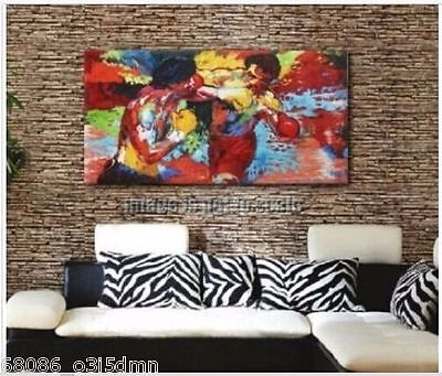 Leroy Neiman Rocky vs Apollo Handcraft Portrait oil painting on canvas NO FRAME6