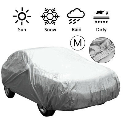 Waterproof Medium Full Car Cover Breathable UV Protect Outdoor Universal Grey