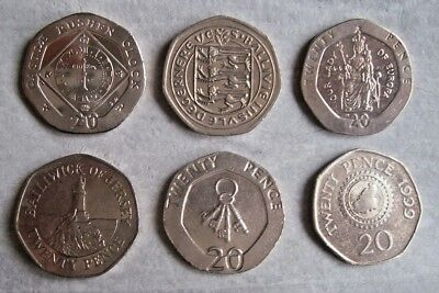 Gibraltar-Bailiwick Of Guernsey-Isle Of Man-Bailiwick Of Jersey - 20P Coins.