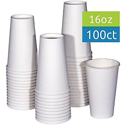 New 16 Oz White Hot Drink Paper Cups - 100 Count Coffee, Tea, Cocoa