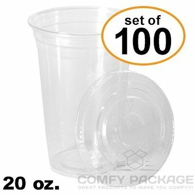 New 100 Sets 20 Oz. Plastic CRYSTAL CLEAR Cups With Flat Lids For Cold Drinks,