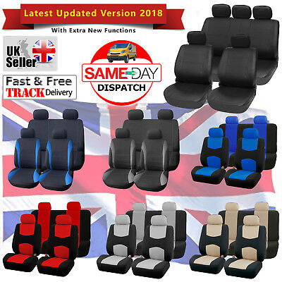 UNIVERSAL CAR SEAT COVERS Full Set Sporty Washable Airbag Compatible & Car Mats