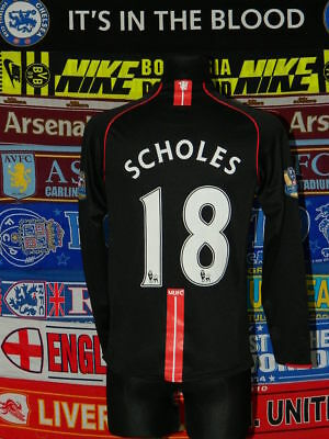 4.5/5 Manchester United adults S #18 Scholes 2007 original football shirt jersey