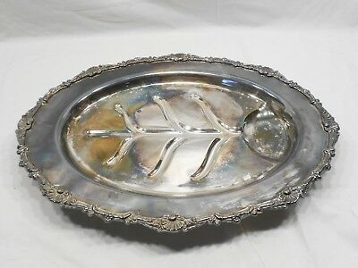 """Vintage Ornate L E Silver Plate Footed Carving Tray 19"""" Long"""