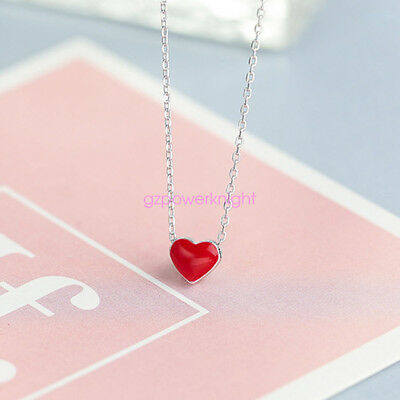 Personalised Solid 925 Sterling Silver Pendant Necklace Red Heart Gift Ladies