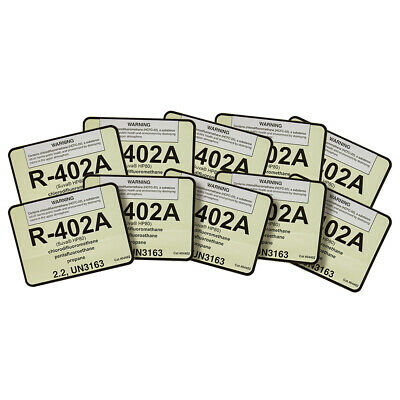 R-402A / R402A ( Suva HP80 ) UN3163 Refrigerant Label # 04402 , Pack of (10)