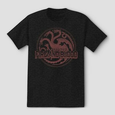 Game Of Thrones FIRE AND BLOOD T-Shirt Charcoal Heather Tee NWT Licensed S & M