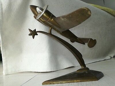 Antique french Art Deco plane jet desk bronze Bauhaus Modernist