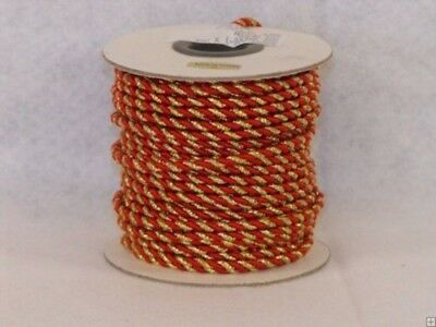 (Red & Gold) - 2 mm Twine Cord 25 Yard Roll Multi Colour (Red & Gold)