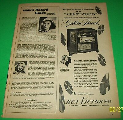 RCA Victor Crestwood Victrola Radio-Phonograph 1947 Print Ad Golden Throat Wall