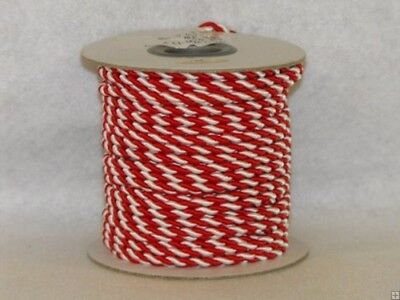 (Red & White) - 2 mm Twine Cord 25 Yard Roll Multi Colour (Red & White)