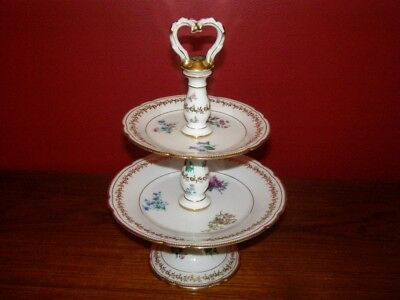 Antique Early 20th Century Sevres 2 Tier Dessert Stand w/ Floral Decoration