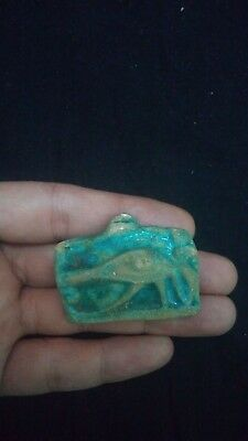 Ancient Egyptian Faience Eye of Horus Amulet