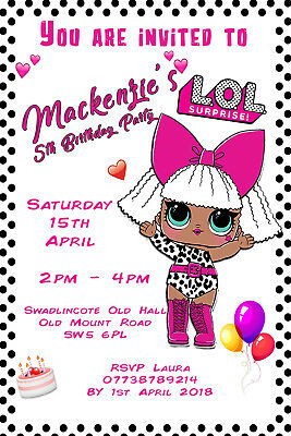 Personalised LOL Surprise Dolls Birthday Party Invites With Envelopes LOL12