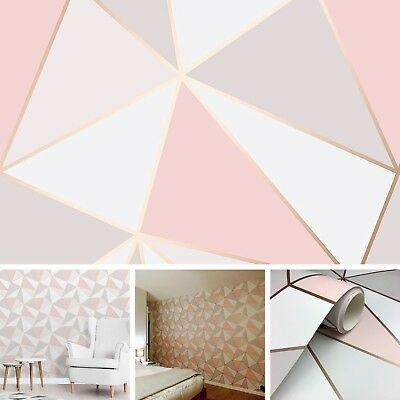 New Diy Interior Geometric Rose Gold Wallpaper Wall Bedroom Lounge Triangle Pink