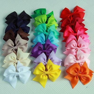 20 Pcs Set Toddler Kids Girls Hair Bows Ribbon Bow Clip On Hair Pin Gifts
