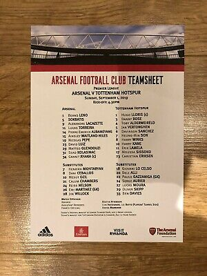 Arsenal v Tottenham Hotspur ( Spurs ) Official Team Sheet 1st September 2019