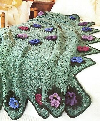 Pretty Pansies Flowers Afghan Crochet Pattern Instructions 200