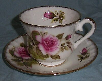 Royal Stanley Cup and Saucer Pink Roses Gold Staffordshire England