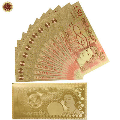 WR 10X British £50 Fifty Pound Note Gold Foil Novelty Banknote + Golden Envelope