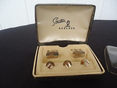 vintage art deco pair  mens cufflinks  gold stratton england and studs tie pin