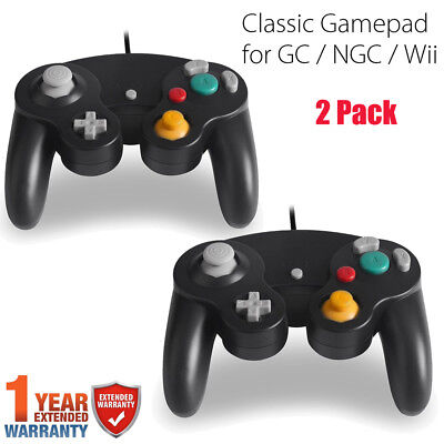 2x Black GameCube Controller Remote For Nintendo Wii GameCube And Wii Brand New