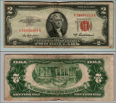 1953A $2 Dollar Bill Old  Note Legal Tender Paper Money Currency Red Seal P798