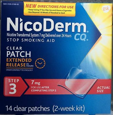 Nicoderm CQ Step 3 2 Week 14 Patch Nicotine 7 mg Exp 8/2019 or better