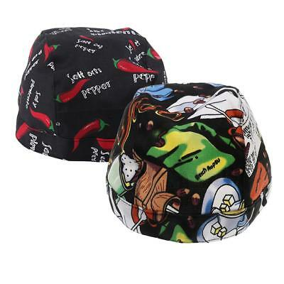 2xUnisex Catering Chef's Headwrap Bandana Hat Head Do Tied Caps Multi Color