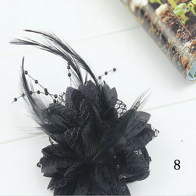 Fascinator Flower Bridal Bead Wedding Feather Hairband Accessories Hair Clips