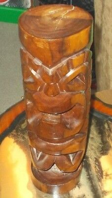 Very Nice Large Tiki Statue Made In Fiji 1970's Original Stamped Solid Wood