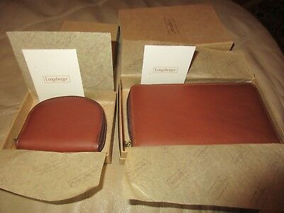 Longaberger Country Estates Leather Wallet New In Box & Coin Purse NEW *RARE*