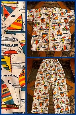 Boys Pajamas Short Sleeve 2 Pc Boats Elastic Sea Buttons VINTAGE 1970s NEW Sz 12
