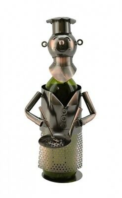 Chef Holding a Pan, Metal Wine Bottle Holder, Wine Bodies By Three Star
