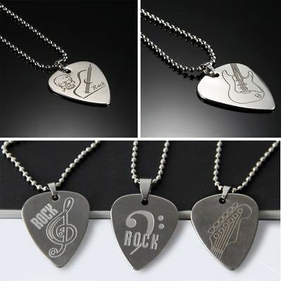 Stainless Steel Guitar Pick Necklace Rock Guitar Parts And Accessories