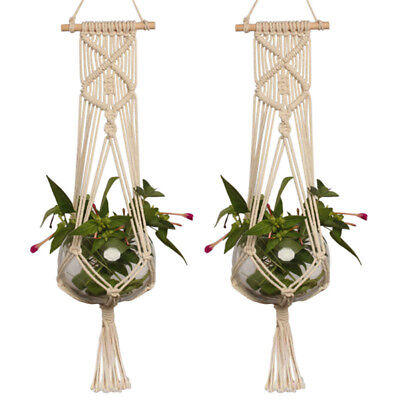 Pot Holder Macrame Plant Hanger Hanging Planter Basket Jute Rope Braided DIY
