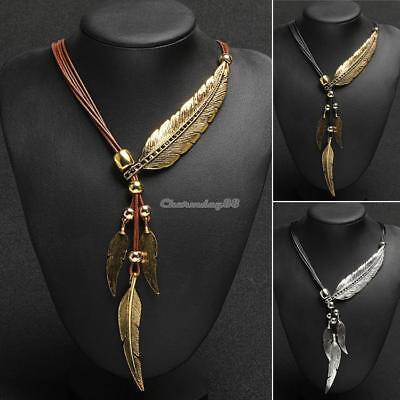 Women Gold Rope Chain Feather Pendant Choker Chunky Statement Necklace Bohemia!