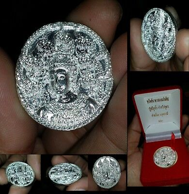 Beautiful NAKA 925 Silver Coin 100% REAL HIGH POWER Buddha Amulet Thai + Laos
